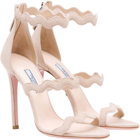 Prada Scalloped Sandals in Beige Suede - Kate Middleton Shoes - Kate's Closet