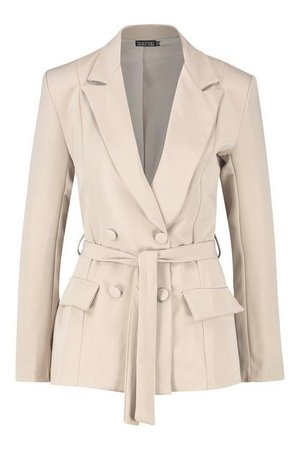 Woven Fitted Double Breasted Tie Belt Blazer | Boohoo stone