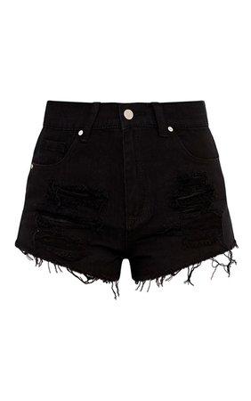 Elana Black Ripped Denim Hotpants | Denim | PrettyLittleThing