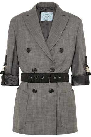 Prada | Belted double-breasted checked wool blazer | NET-A-PORTER.COM