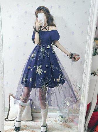 Sweet Galaxy Off-Shoulder Tulle Dress  - SpreePicky