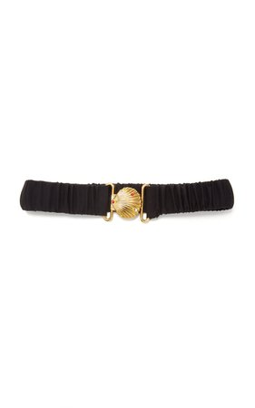 Saloni Shell Buckle Silk Ruched Belt