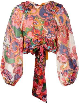 Zimmermann Paisley Print Ruffle Detail Blouse - Farfetch