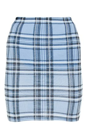 *clipped by @luci-her* Pastel Blue Check Print Mini Skirt | Skirts | PrettyLittleThing USA