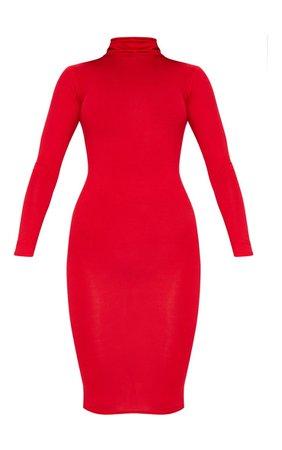 Basic Red Roll Neck Midi Dress | Dresses | PrettyLittleThing USA