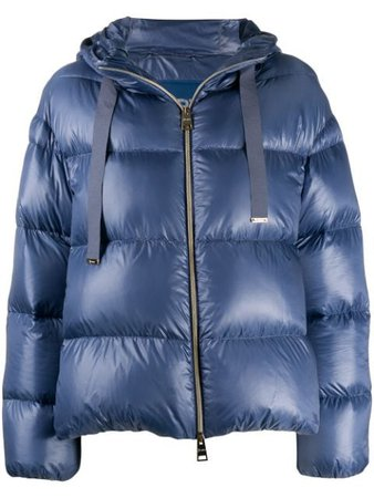 Shop blue Herno metallic quilted puffer jacket with Express Delivery - Farfetch