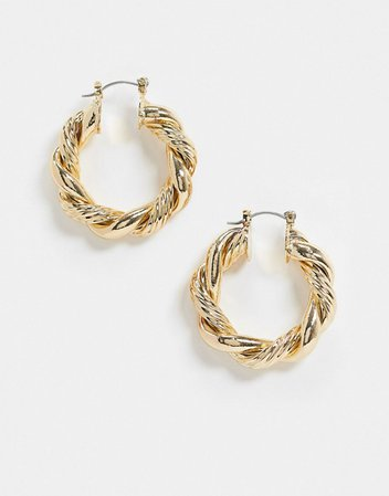 ASOS DESIGN hoop earrings with ribbed twist in gold tone | ASOS