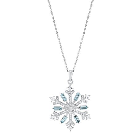 Sterling Silver Blue & White Crystal Snowflake Pendant