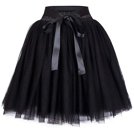 Women's High Waist Princess Tulle Skirt Adult Dance Petticoat A-line Wedding Party Tutu(Black), One Size at Amazon Women's Clothing store: