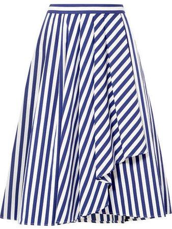 Collection - Draped Striped Cotton-poplin Skirt - Navy