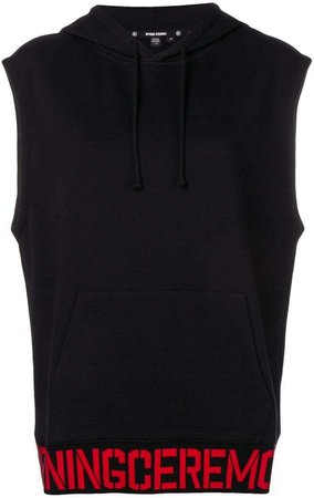 logo hoodie vest