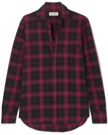 Checked Cotton-flannel Shirt - Black