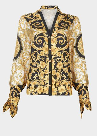 Versace Gold Hibiscus Print Silk Twill Blouse for Women | US Online Store