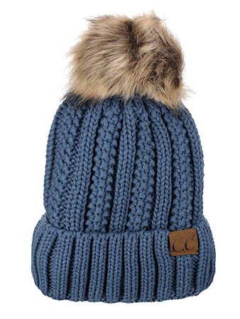 C.C Thick Cable Knit Faux Fuzzy Fur Pom Fleece Lined Skull Cap Cuff Beanie, Mustard at Amazon Women's Clothing store