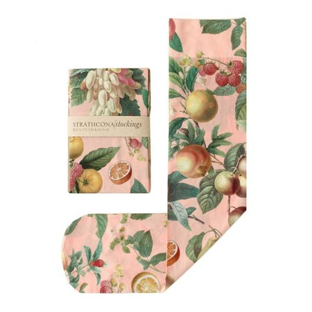 Hand Printed Fruit Socks in Peach