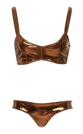 Genevieve Striped Stretch-PVC Bikini by Lisa Marie Fernandez | Moda Operandi