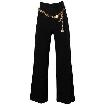Moschino Vintage 90s Wide Leg Palazzo Pants with Coin Chain Belt
