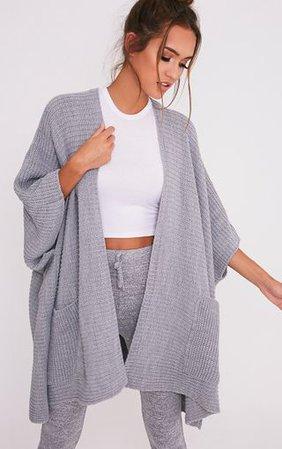 Yazmine Grey Chunky Knit 3/4 Sleeve Wrap Cardigan | PrettyLittleThing