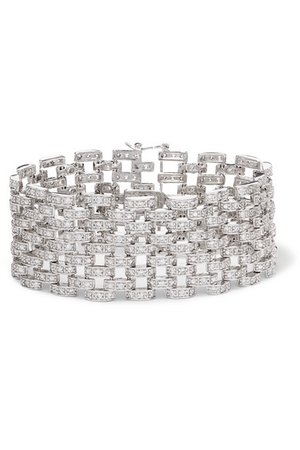 Kenneth Jay Lane | Rhodium-plated cubic zirconia bracelet | NET-A-PORTER.COM