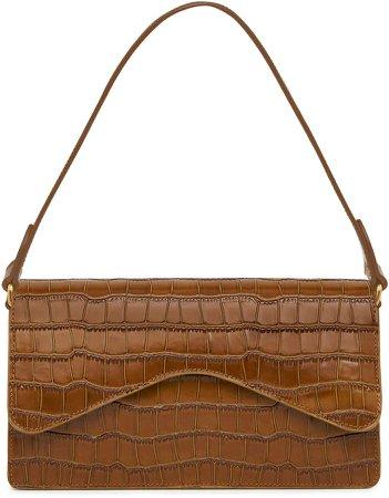 Rylan Baguette Croc-Effect Leather Shoulder Bag