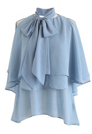 Flowy Ruffle Layered Cold-Shoulder Top in Blue - NEW ARRIVALS - Retro, Indie and Unique Fashion