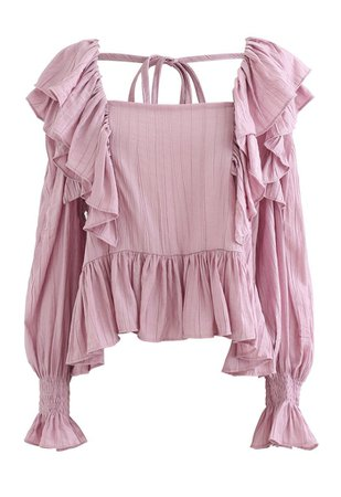 Square Neck Ruffle Crop Top in Pink - Retro, Indie and Unique Fashion