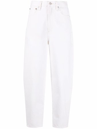 AGOLDE high-waisted cropped denim jeans white A1581183 - Farfetch