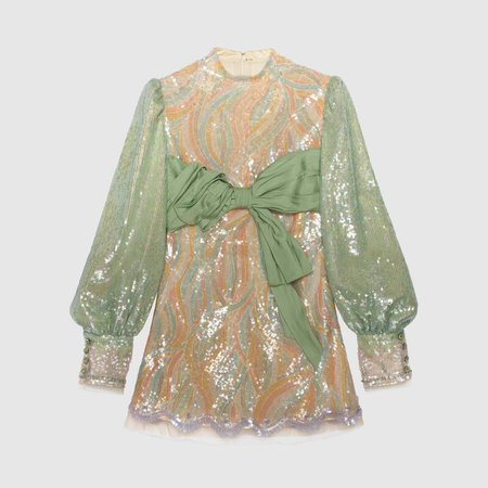 Embroidered tulle mini dress | GUCCI® TR