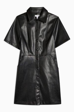 Black Faux Leather PU Shirt Dress | Topshop