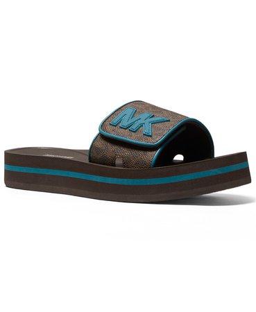 Black Michael Kors Women's MK Platform Pool Slide Sandals & Reviews - Sandals - Shoes - Macy's