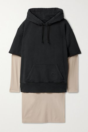Hooded Layered Cotton And Stretch-jersey Dress - Black