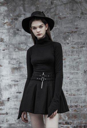 Jevera Black Gothic Mini Skirt by Punk Rave | Ladies Gothic