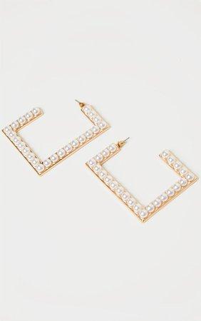 Gold Oversized Pearl Statement Earrings | PrettyLittleThing
