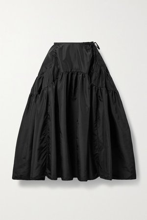 Lilly Gathered Shell Midi Skirt - Black