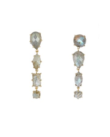 Ela Rae | Mismatched Labradorite Drop Earrings | INTERMIX®