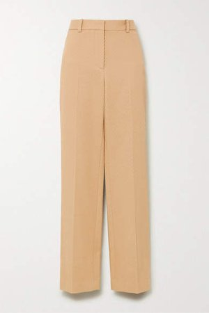 Ribbed Cotton Straight-leg Pants - Beige