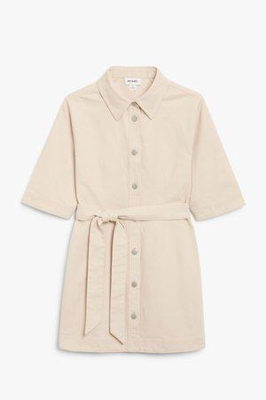 Mini denim shirt dress - Beige - Mini dresses - Monki WW
