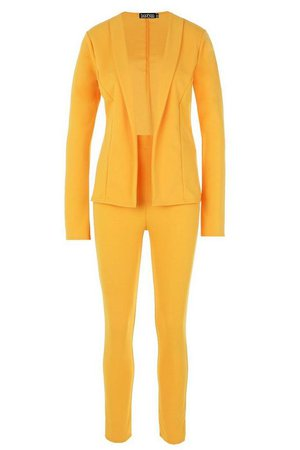 Crepe Fitted Suit Yellow