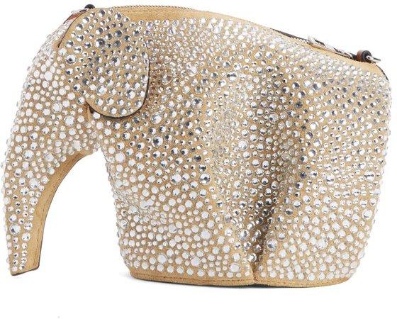 Embellished Elephant Mini Leather Crossbody Bag