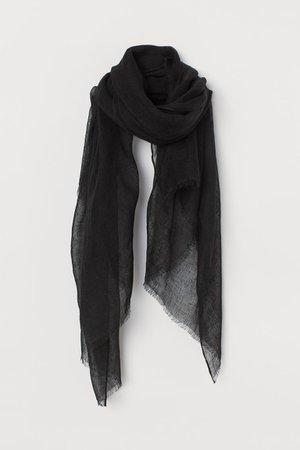 Linen Scarf - Black - Ladies | H&M US