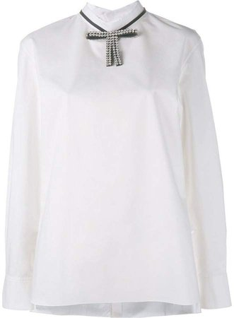 embellished bow collar blouse