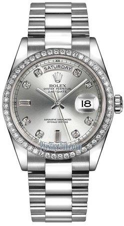 Rolex Day-Date 36mm Platinum Diamond Bezel 118346 Silver Diamond President