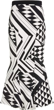 Cushnie Printed High-Rise Silk Skirt