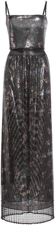 Paco Rabanne Floral-Print Pleated Lurex Dress