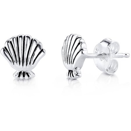 ONLINE - Women's Sterling Silver Little Mermaid Shell Stud Earrings - Walmart.com