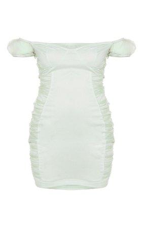 Sage Green Mesh Ruched Bardot Sleeve Bodycon Dress | PrettyLittleThing USA
