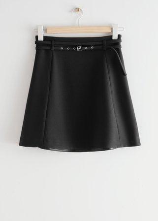 Belted Floaty Mini Skirt - Black - Mini skirts - & Other Stories