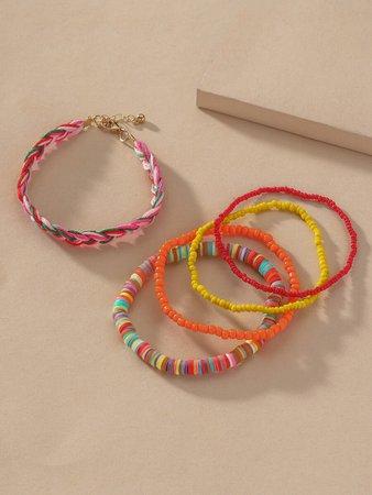 5pcs Colorful Beaded Bracelet | SHEIN USA