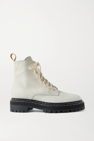 Textured-leather Ankle Boots - White