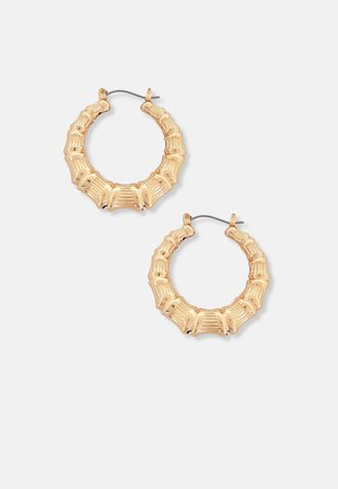 Gold Look Classic Creole Hoop Earrings | Missguided